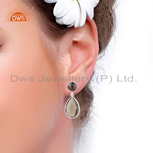 Wholesalers Fine Sterling Silver Smoky Quartz Gemstone Earrings Manufacturer of Jewelry