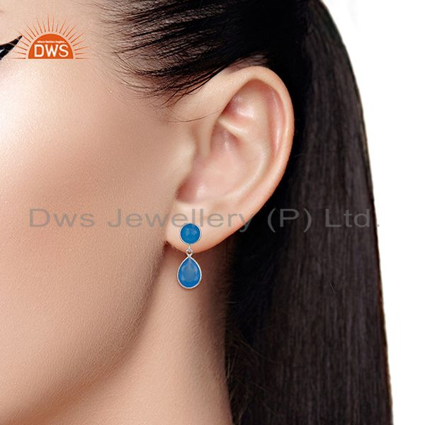 Wholesalers Blue Chalcedony Gemstone 925 Silver Drop Earrings Manufacturers
