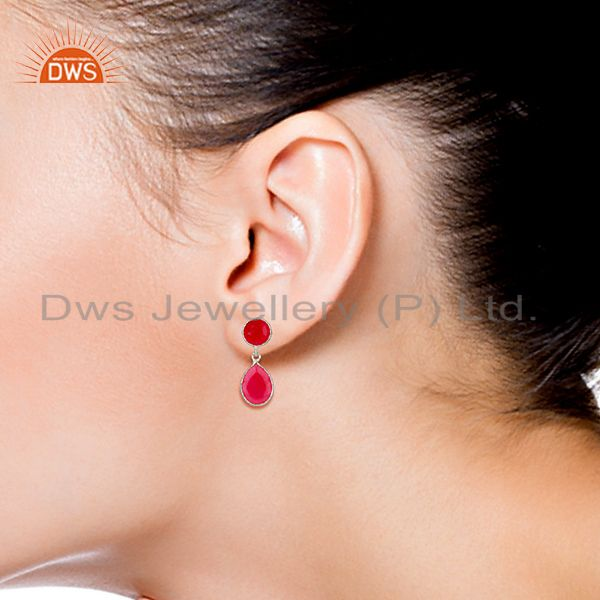 Wholesalers Pink Chalcedony Gemstone Sterling Silver Drop Earrings Supplier