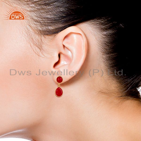 Wholesalers Red Gemstone Gold Plated 925 Silver Drop Earrings Manufacturers