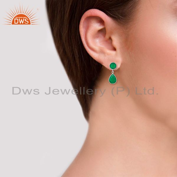 Wholesalers Green Onyx Gemstone 925 Sterling Silver Drop Earrings Manufacturers