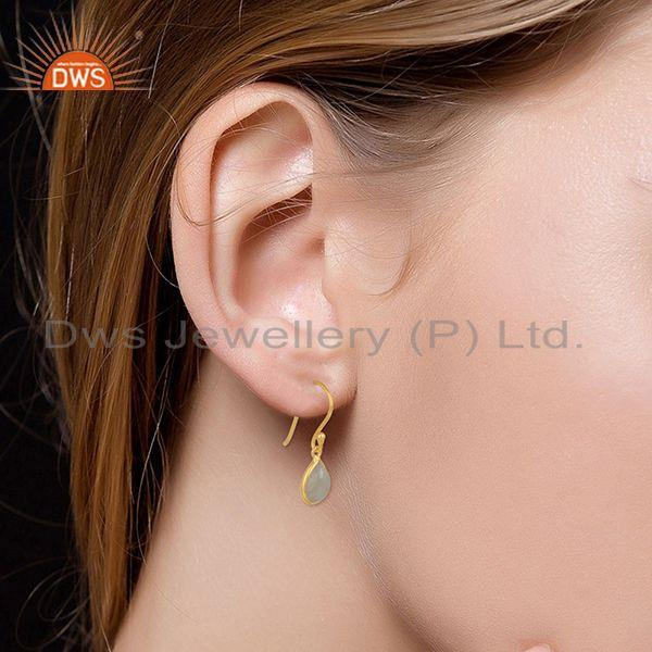 Wholesalers 92.5 Sterling Silver Gold Plated Rainbow Moonstone Drop Earring Manufacturer