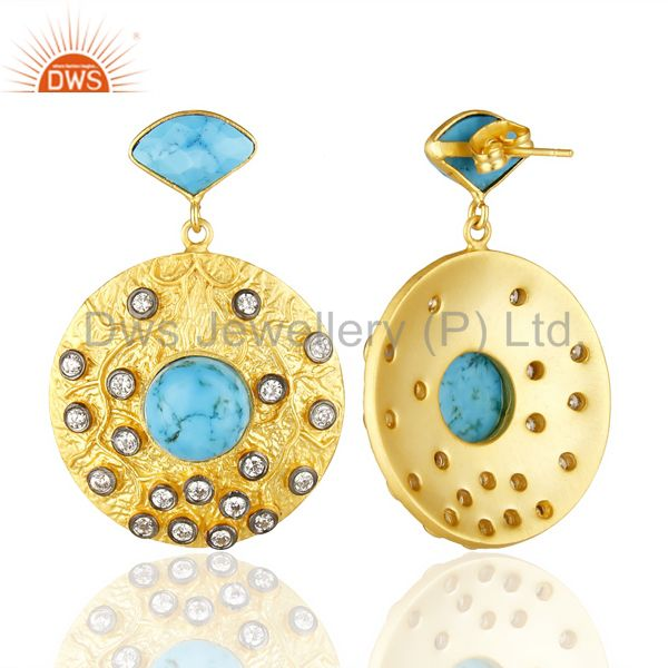 Wholesalers 18K Yellow Gold Plated Brass Turquoise & Cubic Zirconia Disc Fashion Earrings