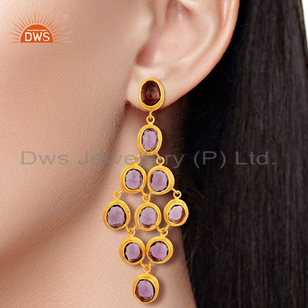 Wholesalers Hydro Amethyst Gemstone Gold Plated Silver Fashion Earrings Jewelry