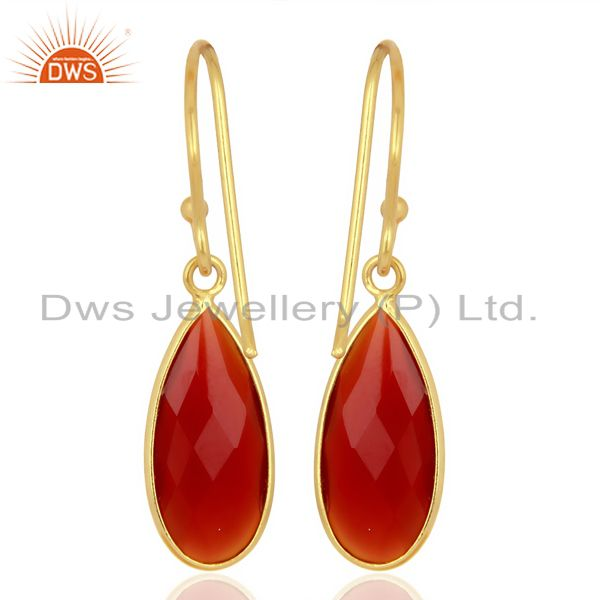 Wholesalers Red Onyx Drop Bezel Set Gold Plated 92.5 Sterling Silver Earring