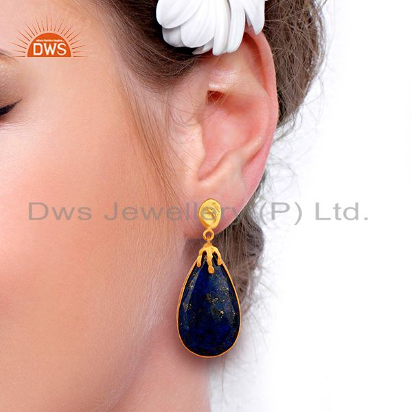 Wholesalers Gold Plated Natural Lapis Gemstone Brass Fashion Earrings Jewelry