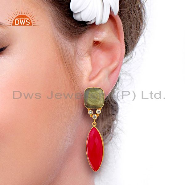Wholesalers Zircon Labradorite Gemstone Gold Plated Fashion Earrings Supplier