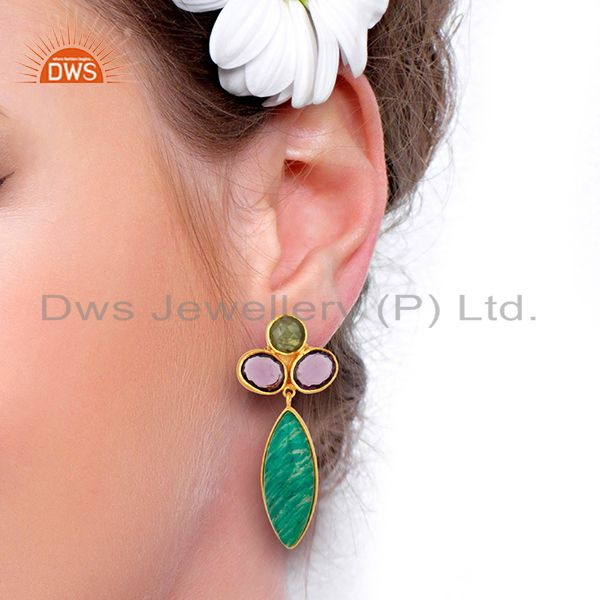 Wholesalers Amazonite Gemstone Handmade Gold Plated Fsahion Earrings Jewelry
