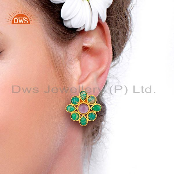Wholesalers Amazonite Gemstone Gold Plated Brass Fashion Earrings Jewelry Supplier