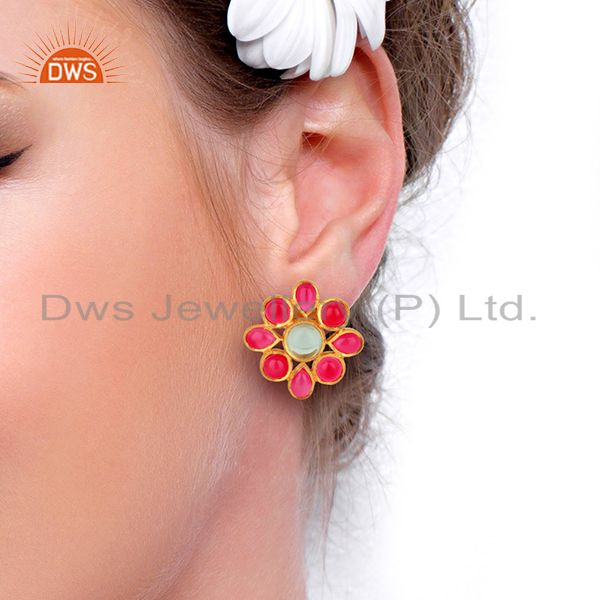 Wholesalers Pink Chalcedony Gemstone Gold Plated Stud Earrings Designer Jewelry