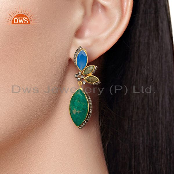 Wholesalers Designer Amazonite Gemstone Fashion Earrings Jewelry Manufacturer