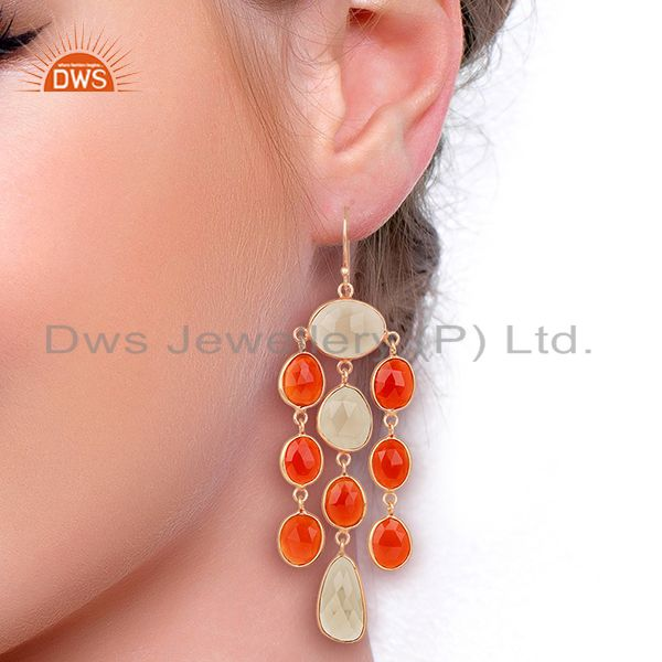Wholesalers 18K Rose Gold Plated Sterling Silver Carnelian Smoky Quartz Chandelier Earrings