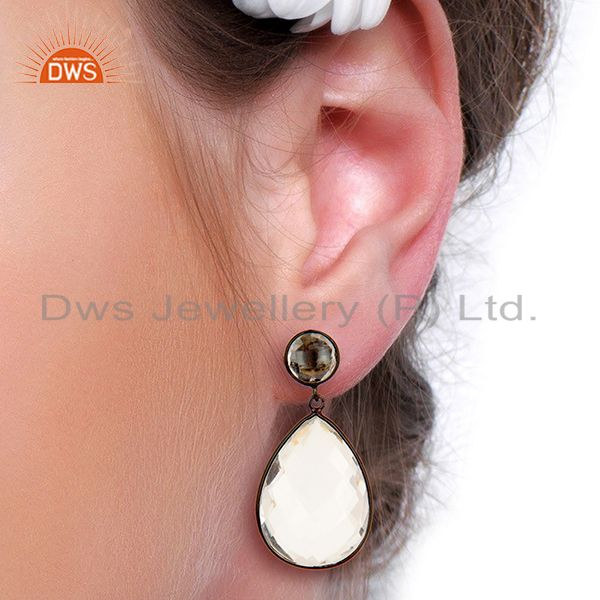 Wholesalers Crystal Quartz Stud And drop Black Rhodium Plated 92.5 Sterling Silver Earring