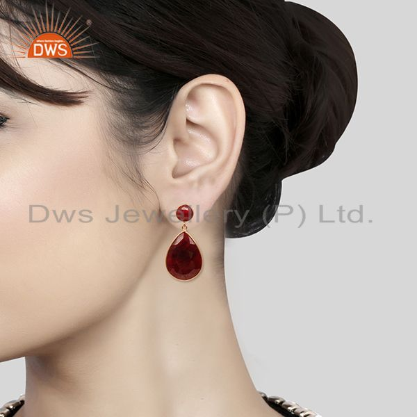 Wholesalers Corundum Ruby Gemstone Rose Gold Plated 925 Silver Earrings Manufacturer India