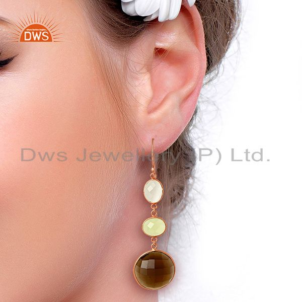 Wholesalers Handmade Rose Gold Plated Gemstone Dangle Earrings Manufacturer