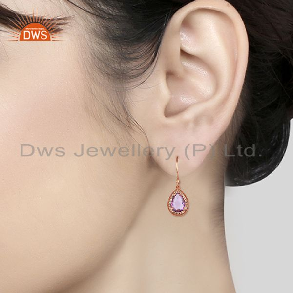 Wholesalers White Topaz and Amethyst Gemstone 925 Silver Drop Earrings Wholesalers