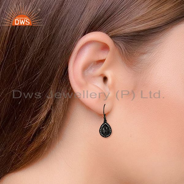 Wholesalers Black Rhodium Plated 925 Silver Gemstone Drop Earrings Wholesale