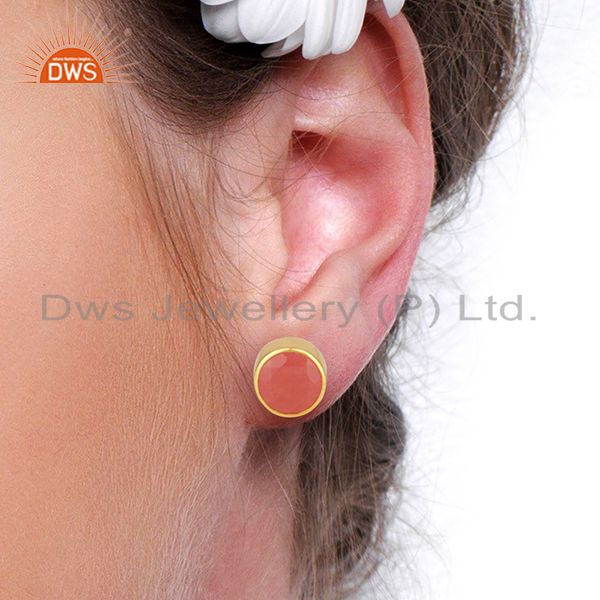 Wholesalers Gold Plated Aventurine Gemstone Gold Plated Stud Earrings Supplier