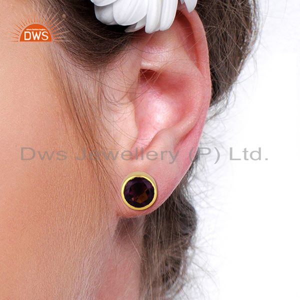 Wholesalers Hydro Amethyst Gemstone Gold Plated Womens Fashion Stud Earrings