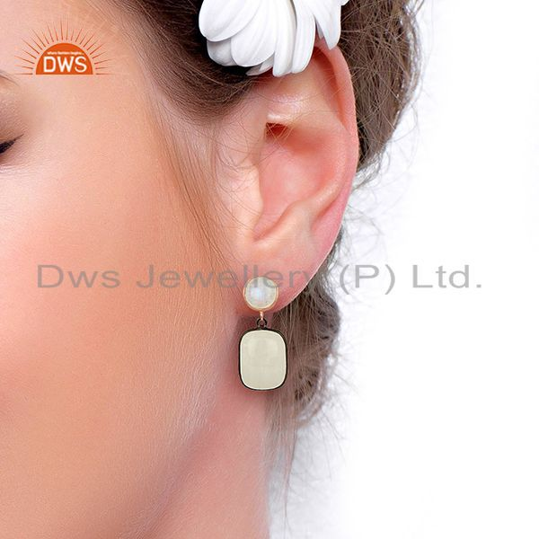 Wholesalers Rainbow Moonstone Designer Silver Gemstone Earrings Supplier Jewelry