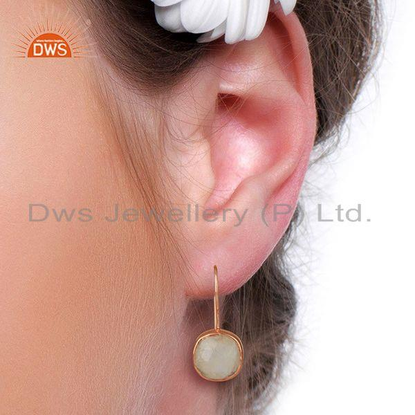 Wholesalers Rainbow Moonstone Rose Gold Plated 925 Silver Drop Earrings Jewelry