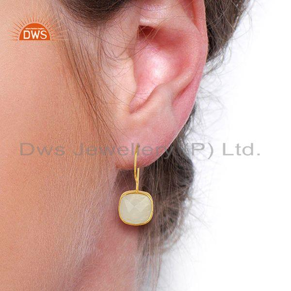 Wholesalers Handmade Gold Plated 925 Silver Rainbow Moonstone Earrings Supplier