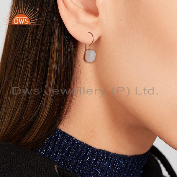 Wholesalers Rose Quartz Gemstone Rose Gold Plated Drop Earrings Manufacturer