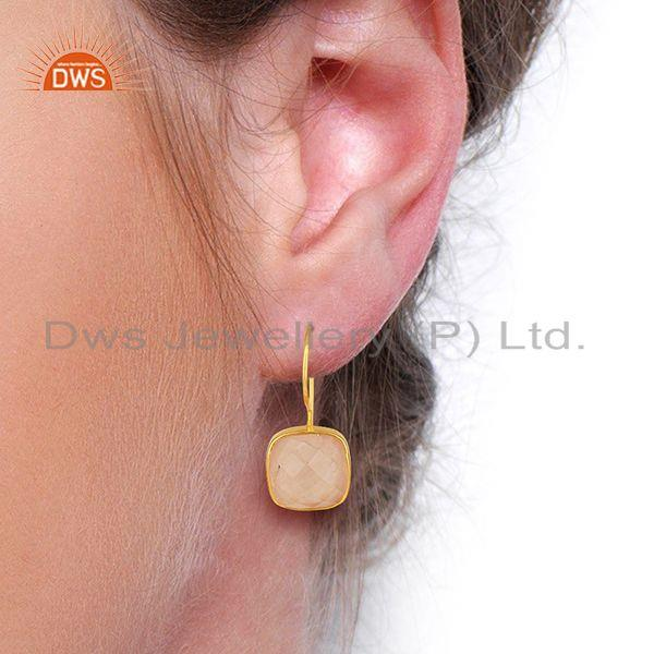 Wholesalers Rose Quartz Gemstone Yellow Gold Plated 925 Silver Earring Manufacture