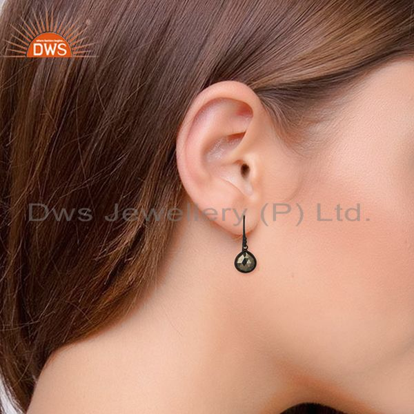 Wholesalers Bezel Set Hematitle Gemstone Handmade 92.5 Silver Drop Earring Jewelry