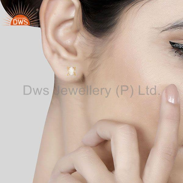 Wholesalers Crystal Quartz Prong Setting Gemstone Gold Plated Silver Stud Earrings
