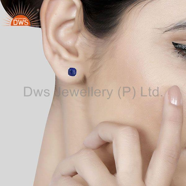 Wholesalers Lapis Lazuli Gemstone 925 Silver Handmade Custom Stud Earrings Manufacturer