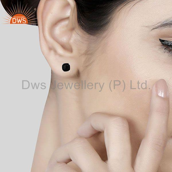 Wholesalers Prong Setting Black Onyx Gemstone 925 Silver STUD Earrings Jewelry MANUFACTURER