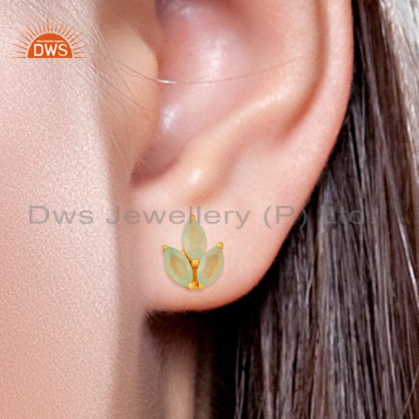 Wholesalers Dyed Aqua Chalcedony Leaf Finn 925 Sterling Silver 18K Gold Plated Stud Earrings