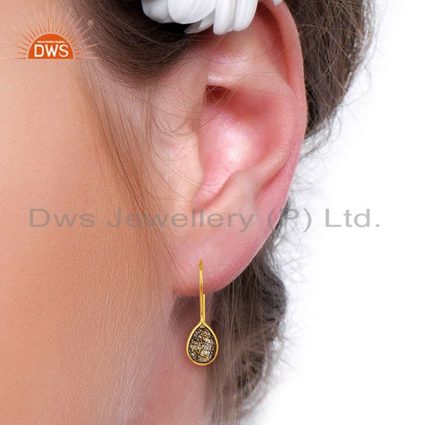 Wholesalers Black Rutile Dangle 18K Yellow Gold Plated 925 Sterling Silver Earrings Jewelry