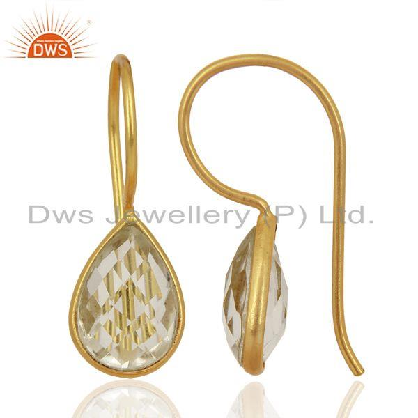 Wholesalers Crystal Quartz Dangle 14K Yellow Gold Plated 925 Sterling Silver Earrings