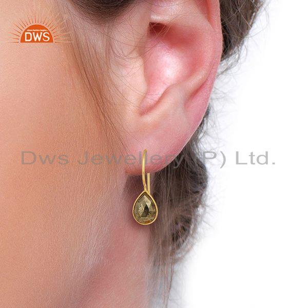 Wholesalers Pyrite Drop 14K Yellow Gold Plated 925 Sterling Silver Earrings Jewelry