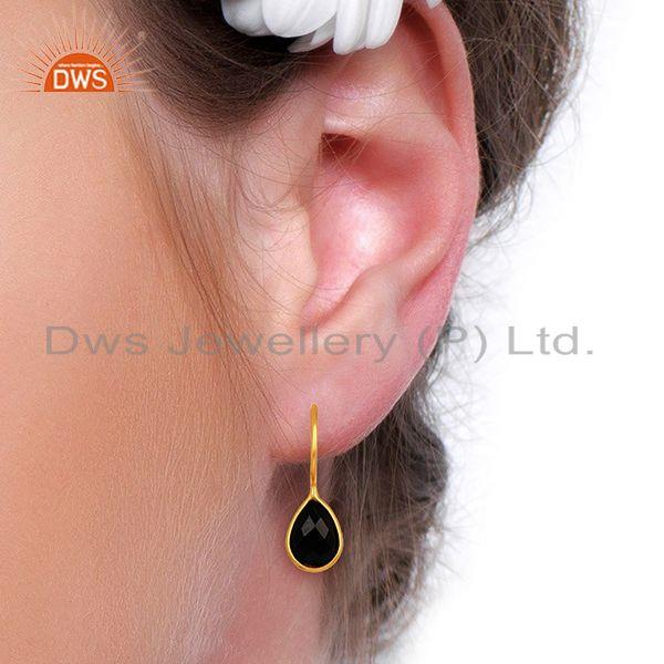 Wholesalers Black Onyx Dangle 14K Gold Plated 925 Sterling Silver Earrings Gemstone Jewelry