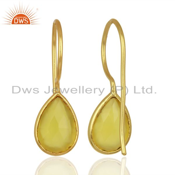 Wholesalers Yellow Chalcedony Drop 14K Yellow Gold Plated Sterling Silver Earrings Jewelry