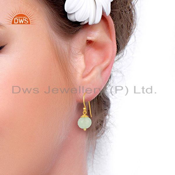 Wholesalers Handmade Aqua Chalcedony Gemstone Gold Plated Silver Earrings Supplier