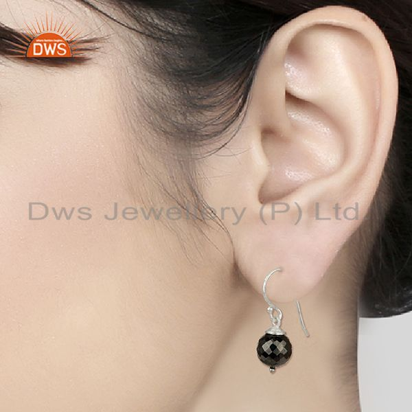 Wholesalers Round Hematite Gemstone 925 Silver Drop Girls Earrings Jewelry
