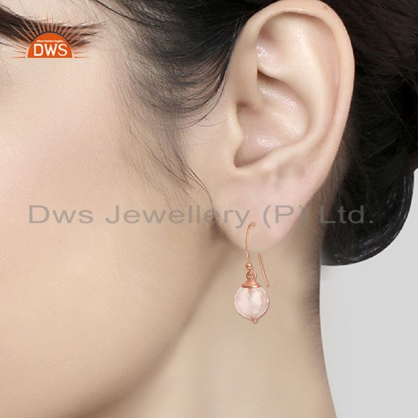 Wholesalers Round Rose Quartz Gemstone Rose Gold Plated Silver Earrings Wholesale