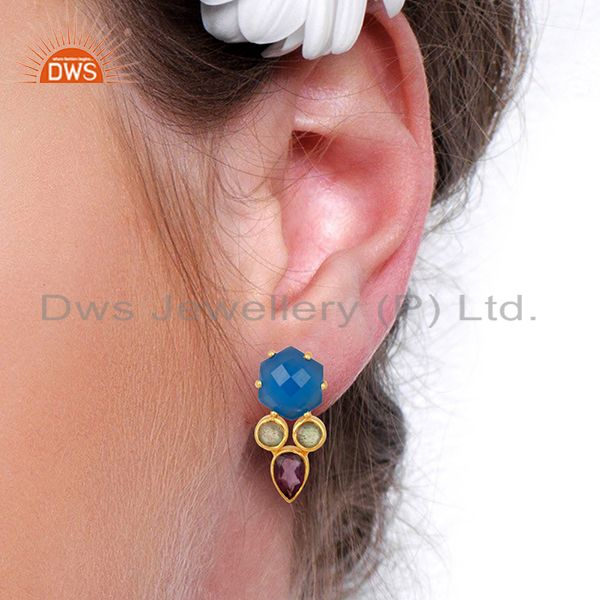 Wholesalers Blue Chalcedony and Labradorite Gemstone Fashion Earrings Supplier