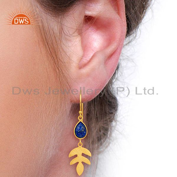 Wholesalers Lapis Lazuli Dangle 14K Yellow Gold Plated 925 Sterling Silver Earrings Jewelry
