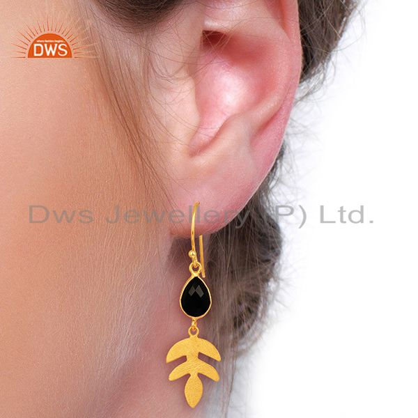 Wholesalers Black Onyx Dangle 14K Gold Plated Sterling Silver Earrings Gemstone Jewelry