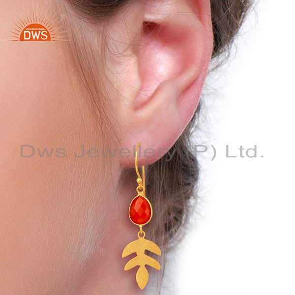 Wholesalers Red Onyx Dangle 14K Gold Plated Sterling Silver Earrings Gemstone Jewelry