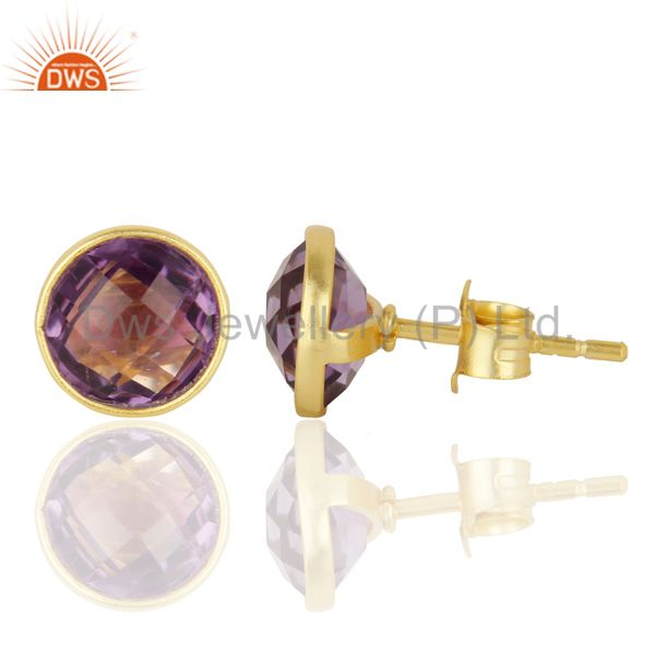 Wholesalers Natural Amethyst Studs 8MM Gold Plated 92.5 Sterling Silver Post Jewelry