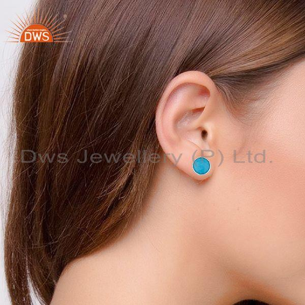 Wholesalers Round Turquoise Gemstone 92.5 Silver Stud Earring Jewelry Manufacturer
