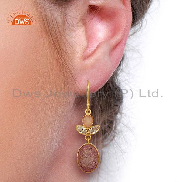 Wholesalers CZ and Pink Druzy Gemstone Gold Plated Fashion Designer Earrings