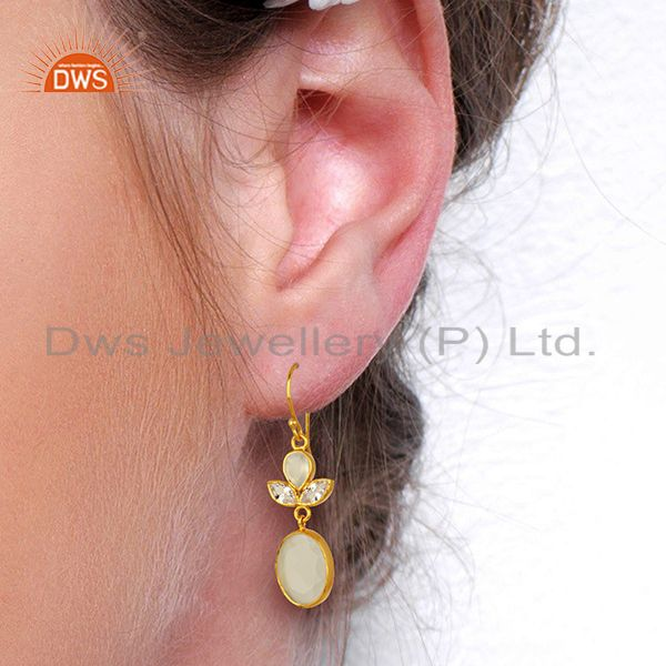 Wholesalers Designer Gold Plated CZ White Chalcedony Gemstone Fashion Earrings