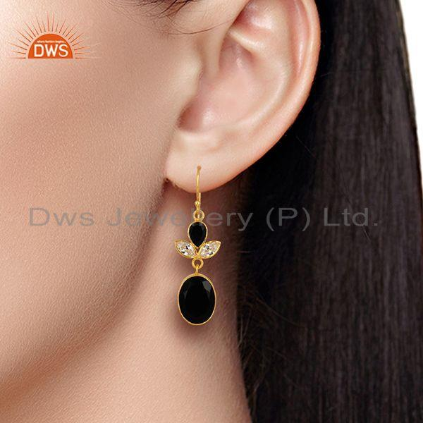 Wholesalers CZ and Black Onyx Gemstone Gold Plated Fashion Girl Earrings Supplier